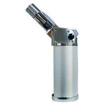 RIKANG TABLE TOP TORCH LIGHTER SILVER CIGAR SOLDERING ADJUSTABLE HEAD CHROME