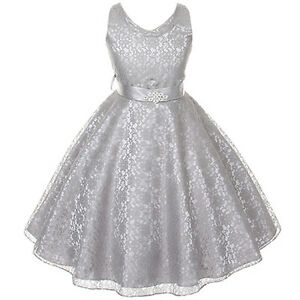 Silver lace flower girl dresses bridesmaid wedding birthday party image is loading silver lace flower girl dresses bridesmaid wedding birthday mightylinksfo
