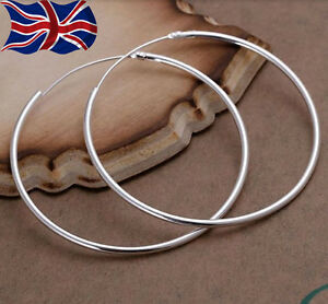 Image Is Loading 925 Sterling Silver Hoop Earrings Large Hooped Sleeper