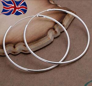 925 Sterling Silver Hoop Earrings Large Hooped Sleeper 50mm 5cm Ladies UK