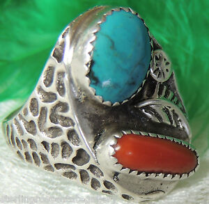 1 Turquoise & Coral Vintage Mens 0.925 STERLING SILVER Band Ring size 10
