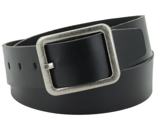 Ledergürtel Herren Damen 4,5 cm schwarz echt Leder Jeans Gürtel NEU #4,5-0002-11