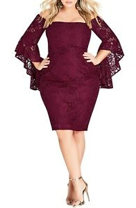 City-Chic-Mystic-Lace-Dress-Off-Shoulder-Bell-Sleeve-Ruby-Red-NWT-24W-2XL