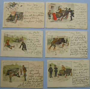 Comic-Car-Veteran-Car-Problems-6-cards-full-set-Arthur-Moreland-Ref-233
