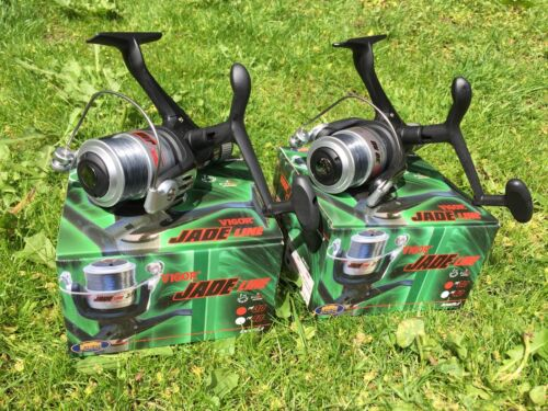 2 x JADE 30 CARP COARSE FLOAT FEEDER FISHING REELS 1BB REEL WITH 8LB LINE