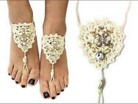 Ivory White Clear Stones Crochet Bohemian Style One Pair Barefoot Sandals