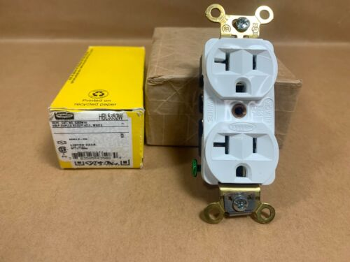 HUBBELL WIRING DEVICE-KELLEMS HBL5352W 20A Duplex Receptacle 125VAC 5-20R WH