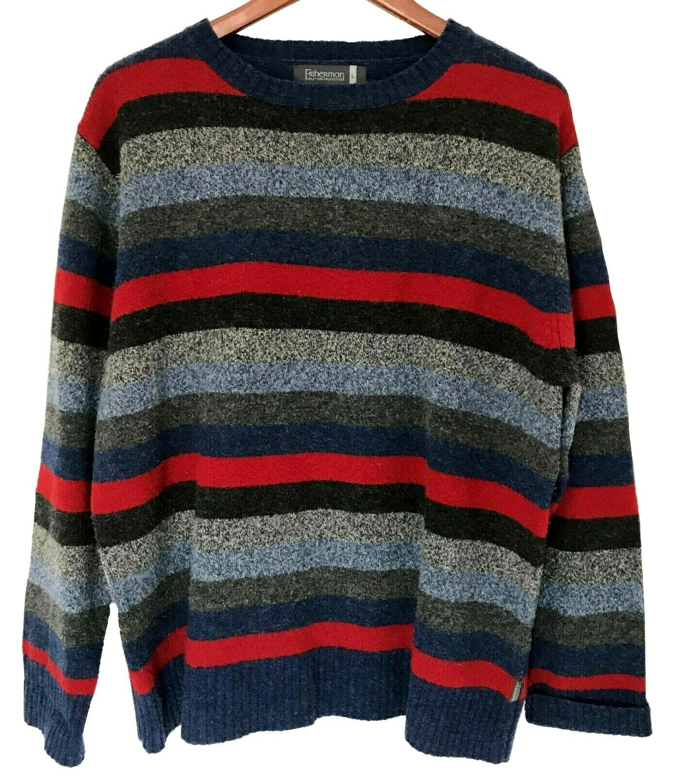 Fisherman Out Of Ireland Mens Large L Striped 100% Lambswool Sweater