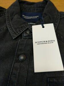 Scotch-amp-Soda-Herren-Slim-Fit-Groesse-Small-Baumwolle-LS-anthrazit-schwarz-Shirt-NEU-Ref