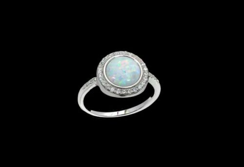 Opal 8mm Cabochon pave Clear Topaz .925 Sterling Silver Ring