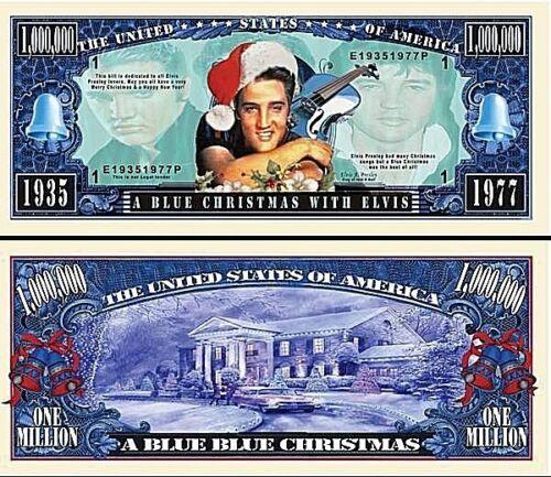 1-Elvis Presley  Dollar Bill Blue Christmas W// clear protector sleeve  Music S3