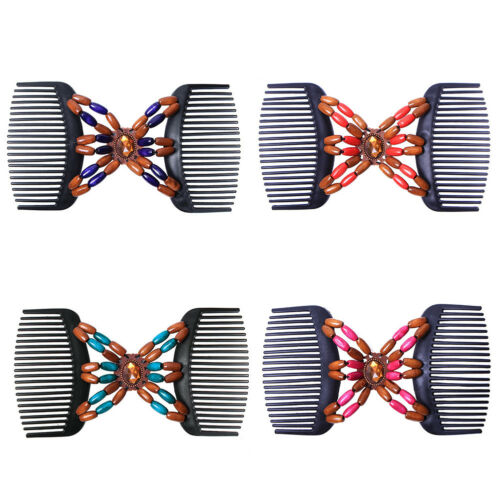 UK/_ RETRO DOUBLE BEADED MAGIC HAIR COMB CLIP STRETCHY HAIRPIN WOMEN ORNAMENT SUP