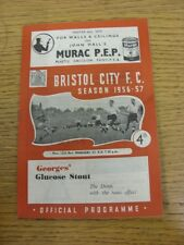 12/11/1956 Bristol City v Managers XI [Benefit Fund] (folded, creased). Thanks f