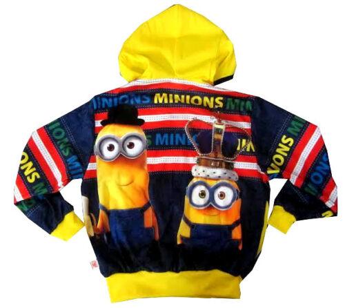 Kids MINIONS vibrant blue hooded sweatshirt jacket Size S-XL Age 6-13 yrs