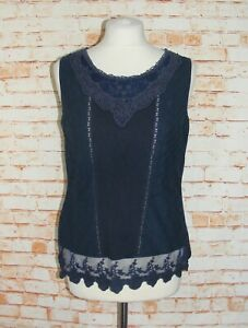 Laura-Ashley-vest-top-size-12-pintuck-mesh-embroidered-plain-back-navy-blue