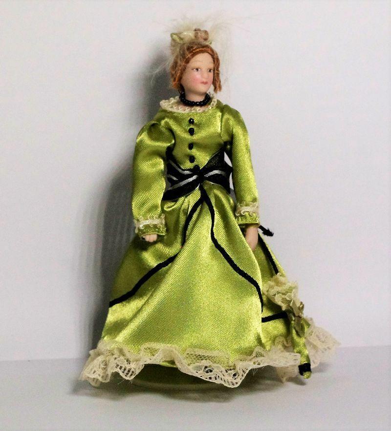 Dame schwarzen Kleid Neu 1:12 Porzellan Puppe Puppenhaus Miniatur