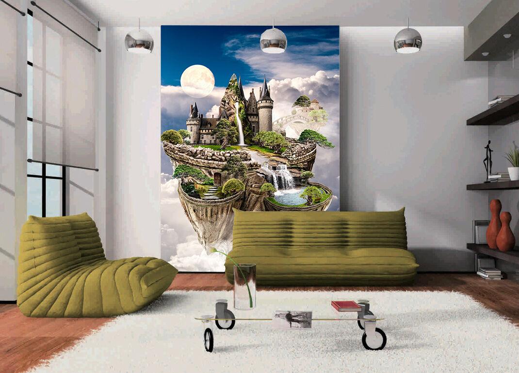 3D Montagne.Château Photo Papier Peint en Autocollant Murale Plafond Chambre Art