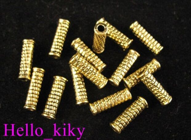 120Pcs  Antiqued gold plt crafted tube spacer beads A316