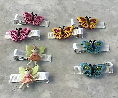 Flower Butterfly Dragonfly Bows Kids Girl 24PCS Baby Ribbon Covered Hair Clips