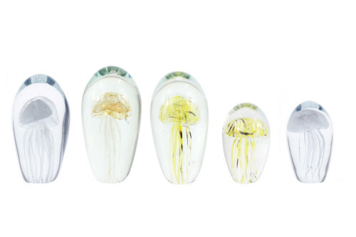 Deco Paperweight Jellyfish in glass Oval Jelly Fish Decoration Unique
