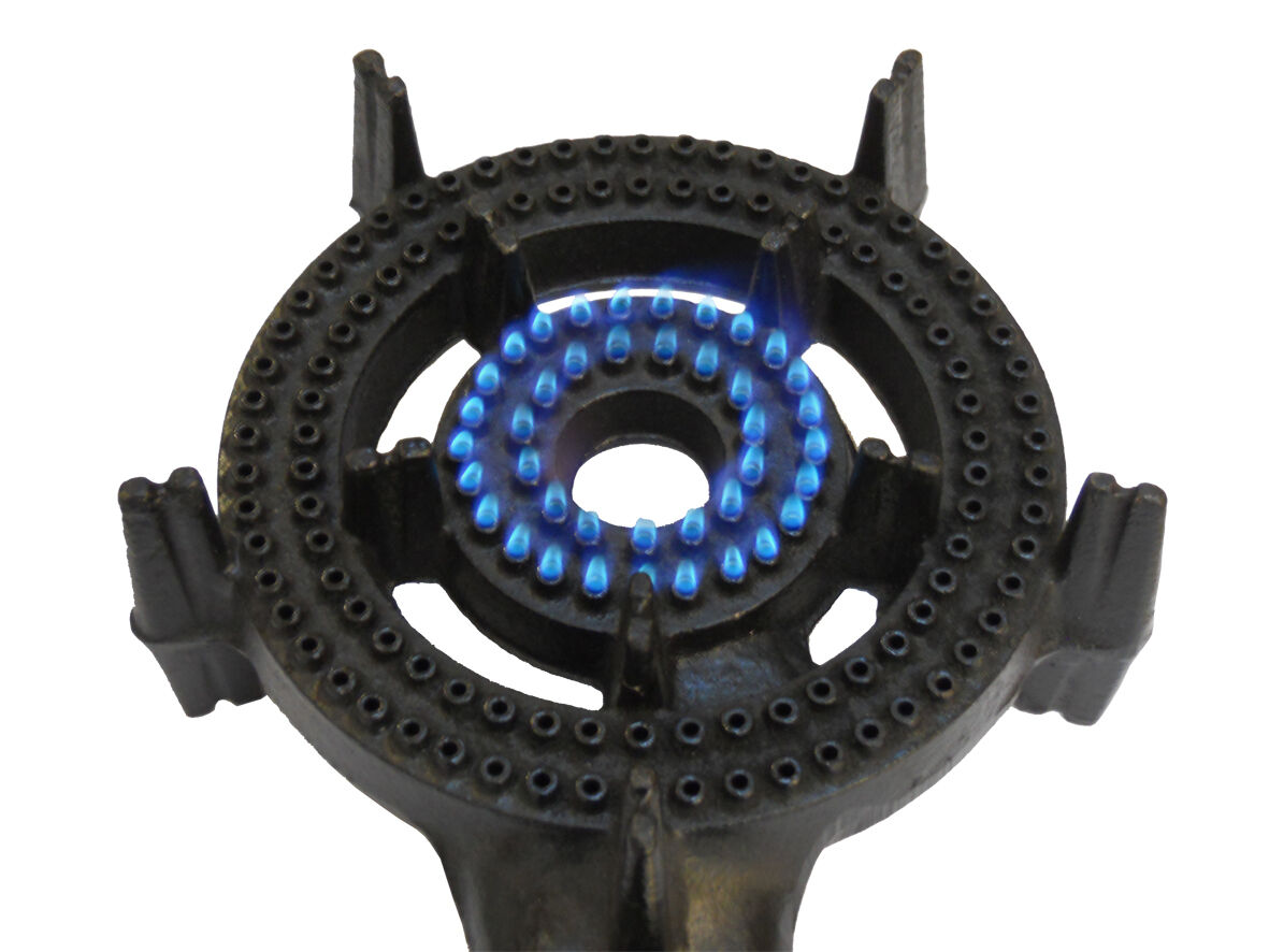 2 Ring LPG Gas Burner Cast Iron Cooker Camp Hose Regulator BBQ Camp Cooker Stove Wok Outdoor f840b2