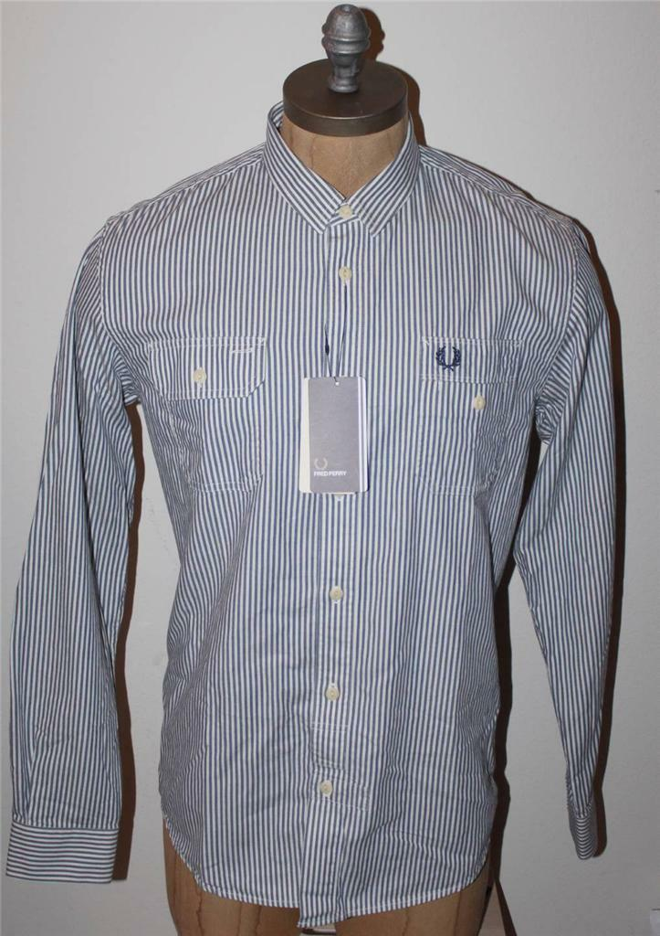 AUTH  Fred Perry Men's Labourers Striped Work Shirt S
