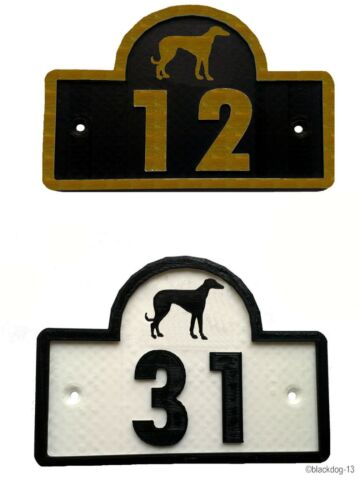 Greyhound House Door Number Plaque 0 to 9999 Garden Gate Dog Sign