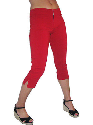 Skinny Capri Trousers Bullet Zip Casual Day White Cropped 3//4 Length NEW 6-18