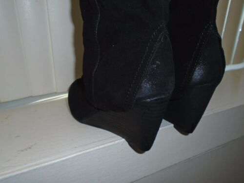 Naughty Monkey Black Suede After Summer Slouchy Knee High Boots Size 6 NWOB