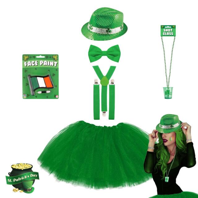 ADULT SHAMROCK BRACES GREEN IRELAND IRISH ST PATRICK/'S DAY FANCY DRESS Paddys