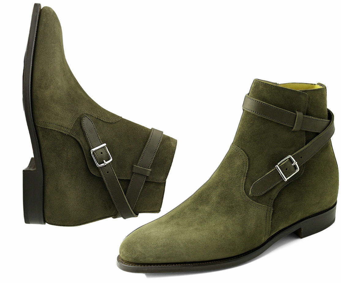 Green Jodhpurs Suede Leather shoes Handmade High Ankle Chelsea Men Leather Boots