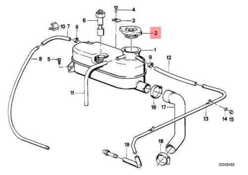 Genuine Radiator Expansion Tank Cap Cover BMW M3 CMS E23 E24 E28 17112227683