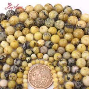 """Natural Yellow Picture Stone 4,6,8,10,12,14mm Round Loose Beads 15/"""""""