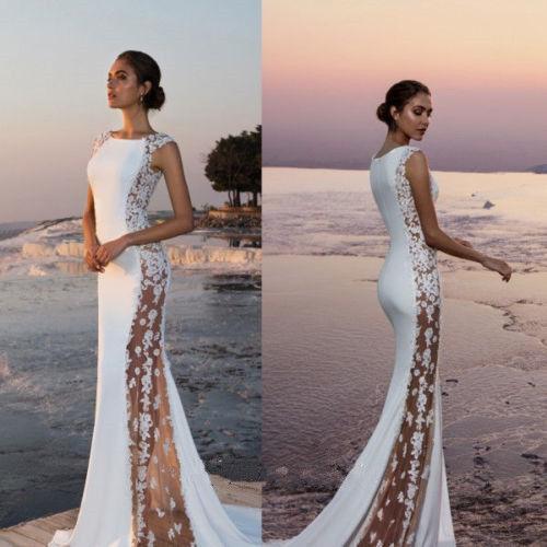 Bridal Gowns For A Beach Wedding: Sheath Wedding Dresses Bridal Gowns Sleeveless Boat Neck