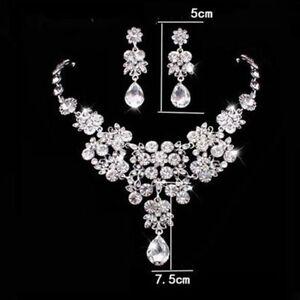 Wedding Bridal Prom Crystal Rhinestone Pendant Necklace & Earrings Jewelry Sets