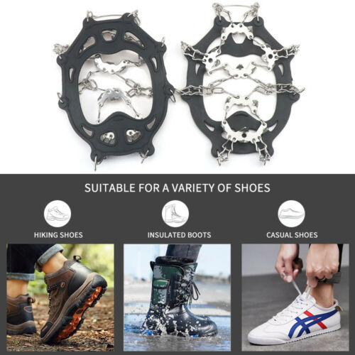 NEW Winter Snow Ice Grips Traction Cleats with 19 Spikes Walking Climbing Hiking