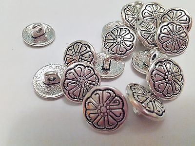 """10 Silver Flower Metal Shank Sewing Buttons 12mm (1/2"""") Jacket Silver Buttons"""