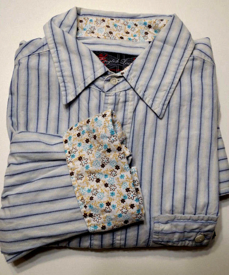 English Laundry Long Sleeve bluee Striped Button-Front Flip Cuff Shirt L