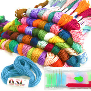 100X-Skeins-Coloured-Embroidery-Thread-Cotton-Cross-Stitch-Braiding-Craft-Sewing