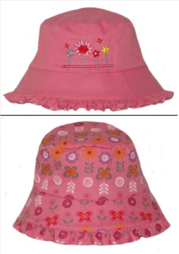 2YRS APPROX GIRL/'S EMBROIDERED//FLORAL REVERSIBLE BUSH//BUCKET SUMMER HAT 8MTHS