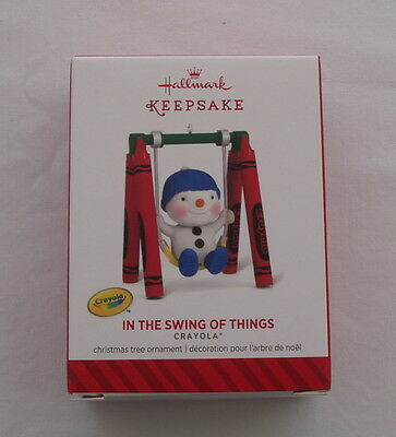 Hallmark 2014 Crayola Crayon Snowman In the Swing of Things Christmas Ornament