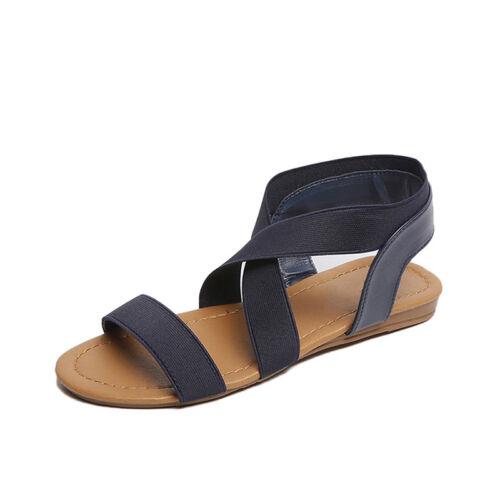 Women Girls Summer Sandals Flats Faux Leather Fashion Sandals Ankle Shoes LH