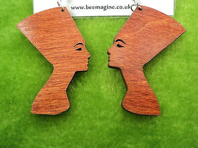 Beautiful laser cut wooden earrings Nefertiti silhouette in red mahogany