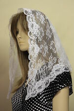 White First Communion veil mantilla Catholic church chapel scarf lace Mass WN