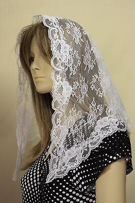 White First Communion veil mantilla Catholic church chapel scarf lace Mass WN