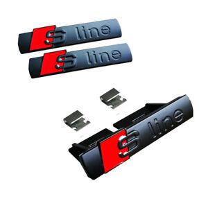 S-Line-Matt-Negro-Grill-amp-lado-Fender-Pegatina-3D-Emblema-Placa-De-Coche-Placa-para-Audi