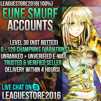 League of Legends Account EUNE EU NE LOL Smurf Level 30 Unranked Skins Champs