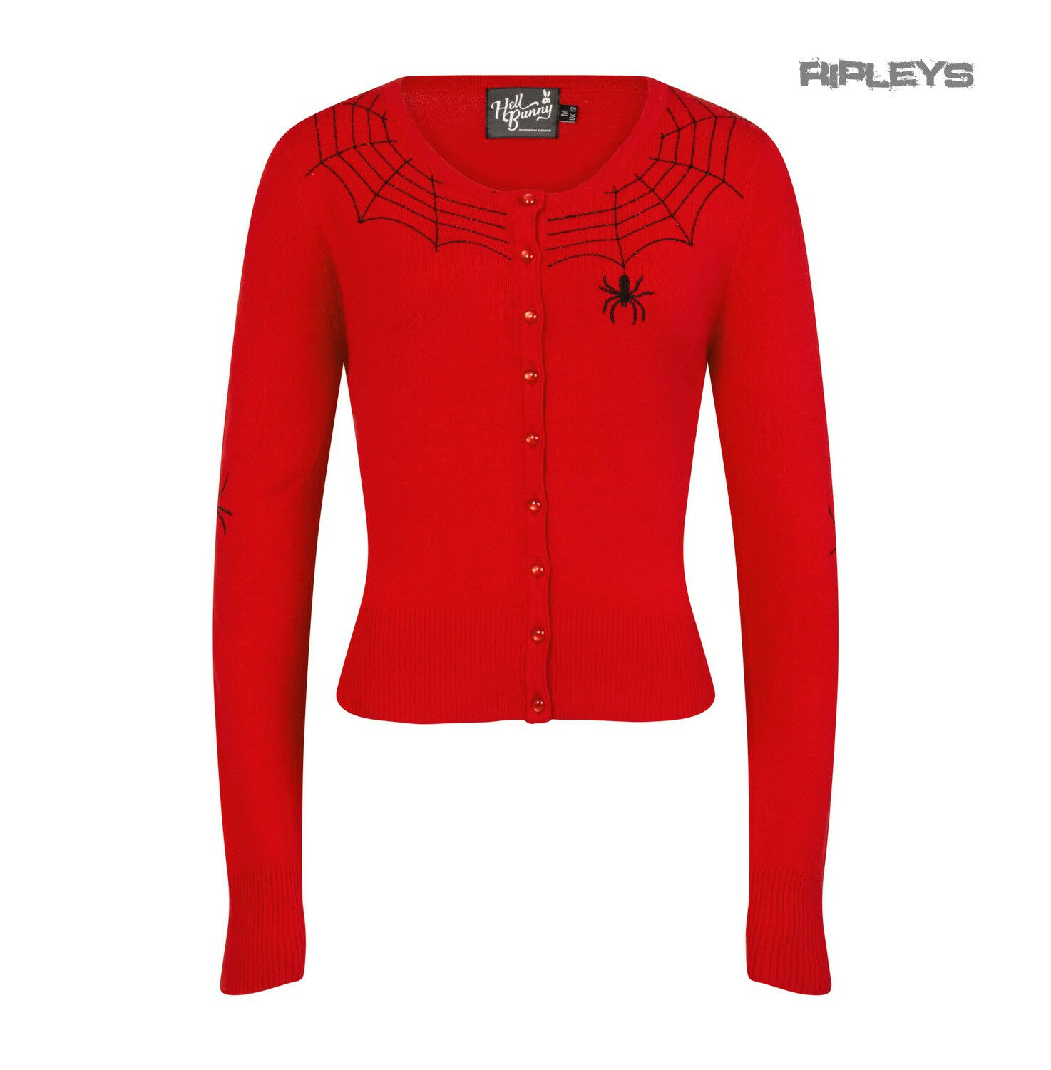Hell Bunny Ladies Gothic Halloween Cardigan Top SPIDER WEB Red All Sizes