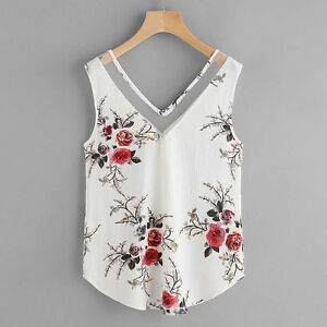 10296dba7 Women's Chiffon Shirt Flower Print Sleeveless V Neck Beach Tank Top ...