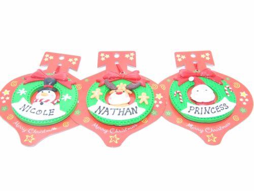 A-Z Noms Personnalisé Décoration De Noël couronne bonhomme de neige Santa Ou Renne
